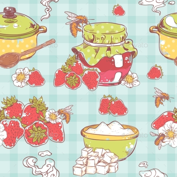 GraphicRiver Strawberry Jam Seamless Pattern 8926009