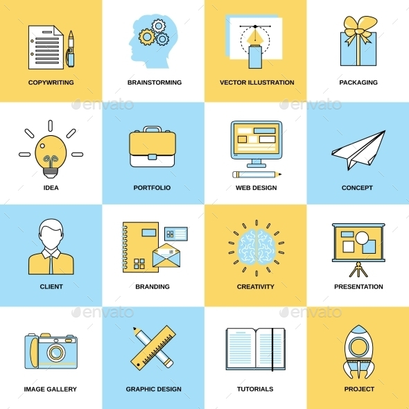 GraphicRiver Advertising Flat Line Icons 8926011