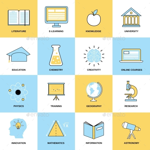 GraphicRiver Education Flat Line Icons 8926012
