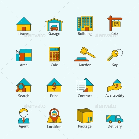 GraphicRiver Real Estate Flat Line Icons 8926022