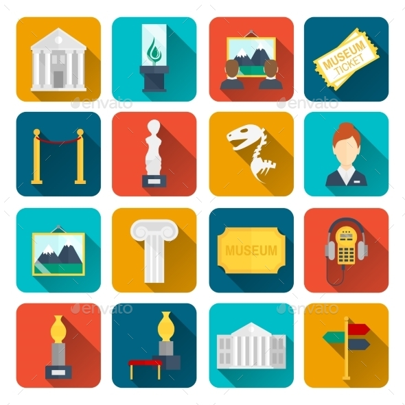 GraphicRiver Museum Icons Flat 8926031