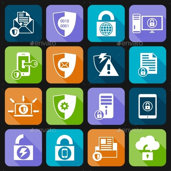 GraphicRiver Data Protection Security Icons 8926070