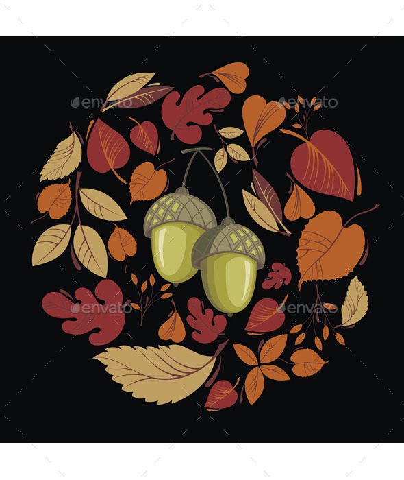 GraphicRiver Vector Card with Autumn Leaves and Acorn 8926100