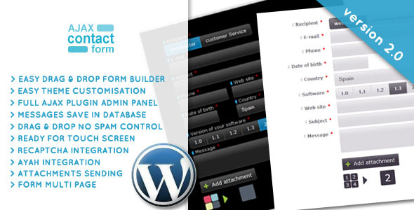 Wordpress Ajax Contact Form with attachments 2.0 - CodeCanyon Item for Sale