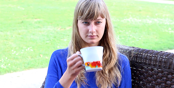 Girl Drinking Tea 2
