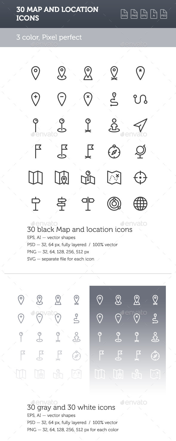 GraphicRiver Map and Location Icon Set 8927111