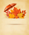 Autumn background with autumn leaves and red umbrella - PhotoDune Item for Sale