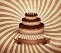 Retro background with birthday chocolate cake - PhotoDune Item for Sale