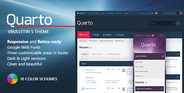 Quarto — vBulletin 5 Responsive Retina Ready Theme Download