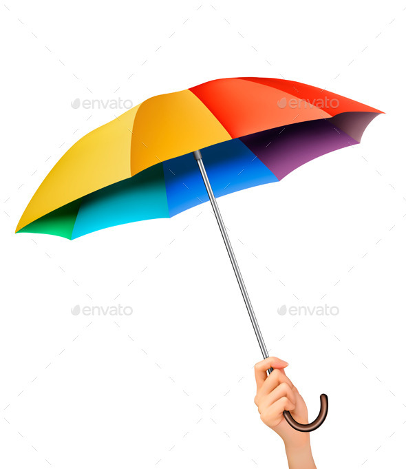 GraphicRiver Hand with a Rainbow Umbrella 8927442