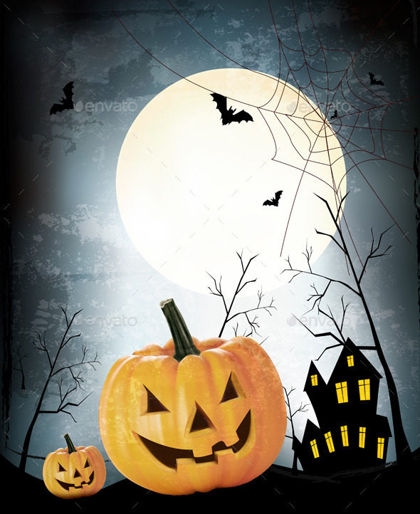GraphicRiver Halloween Party Background with Pumpkins 8927456