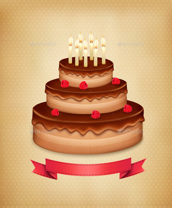 GraphicRiver Background with Birthday Chocolate Cake 8927460