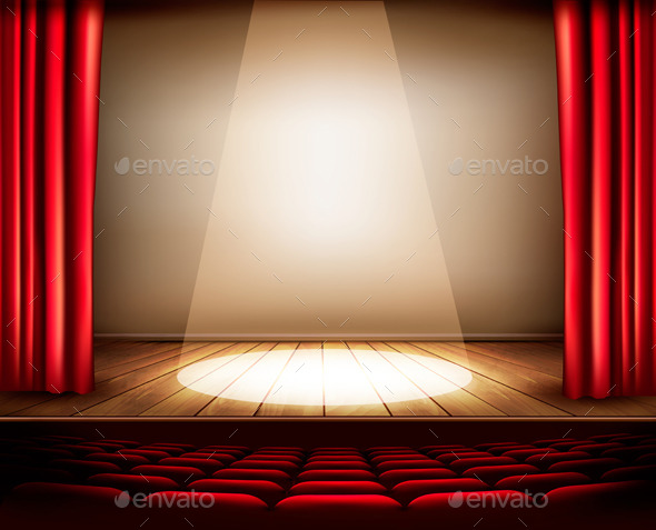 GraphicRiver A Theater Stage with a Red Curtain Seats 8927487