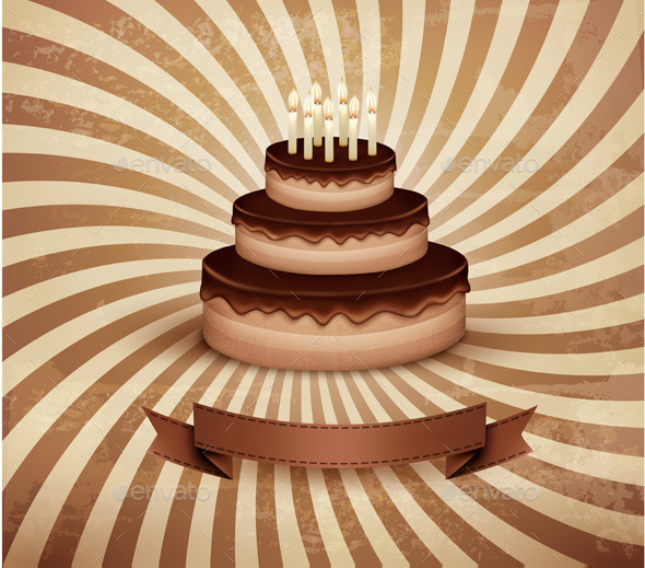 GraphicRiver Retro Background with Birthday Chocolate Cake 8927509