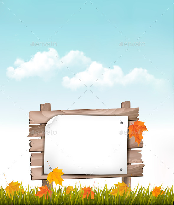 GraphicRiver Nature Background with Autumn Leaves 8927511