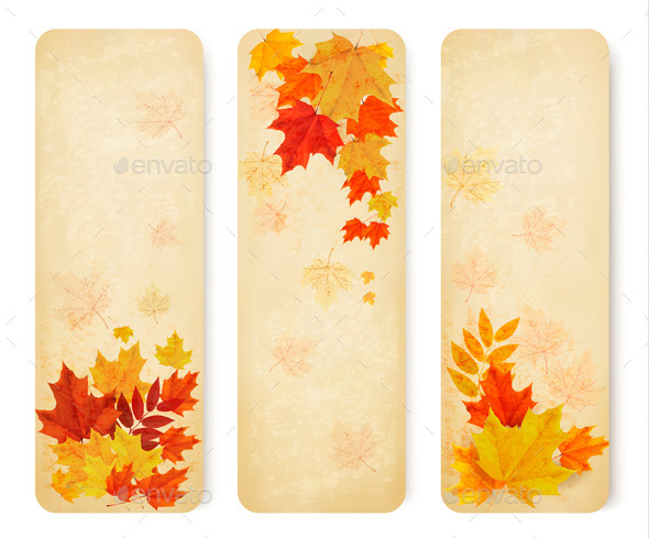 GraphicRiver Retro Autumn Banners with Colorful Leaves 8927513