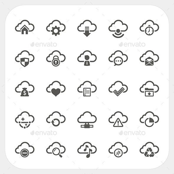 GraphicRiver Cloud Icons Set 8927590