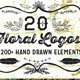 20 Vintage Hand Drawn Floral Logos - GraphicRiver Item for Sale