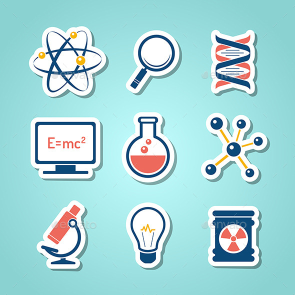GraphicRiver Chemistry And Science Paper Cut Icons 8928081