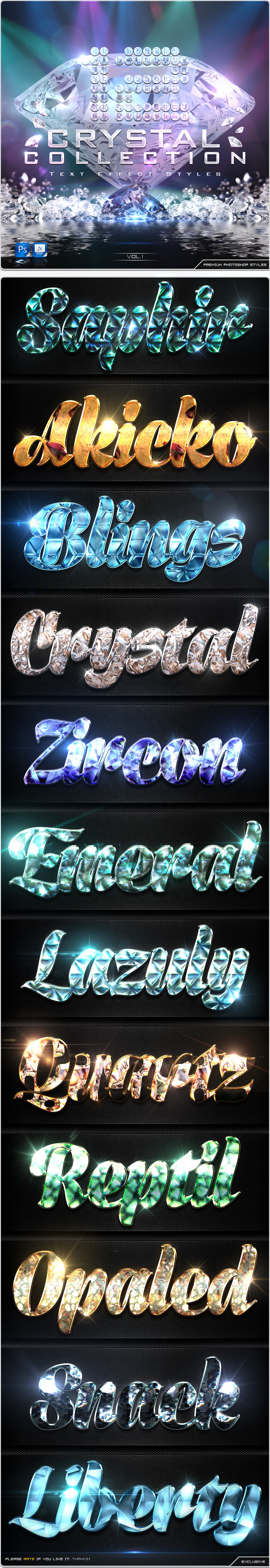 GraphicRiver 12 Crystal Collection Text Effect Styles Vol.1 8928827