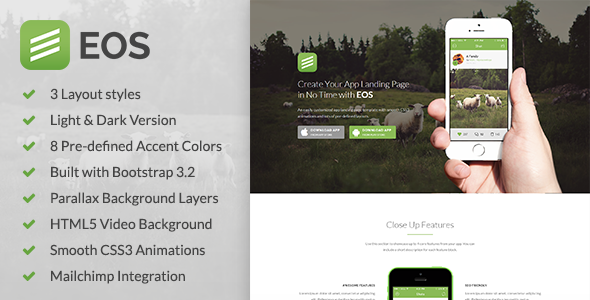 ThemeForest EOS A Responsive Bootstrap 3 App Landing Page 8880564
