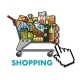 Shopping Cart with Groceries - GraphicRiver Item for Sale