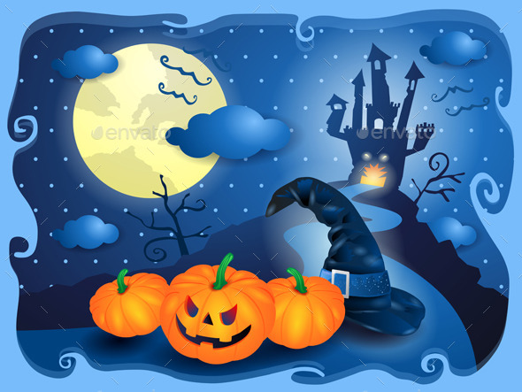 GraphicRiver Halloween Background in Blue 8929209