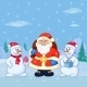 Santa Claus and Snowmans in a Winter Forest - GraphicRiver Item for Sale
