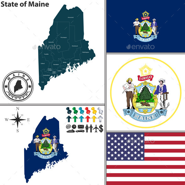 GraphicRiver Map of state Maine USA 8929382