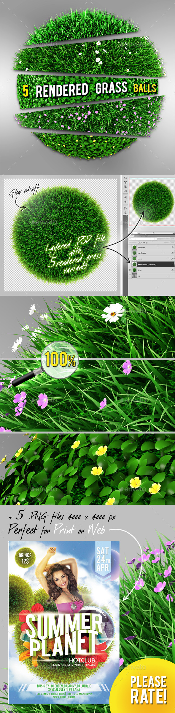 GraphicRiver 5 Grass Flowers Balls 8929390