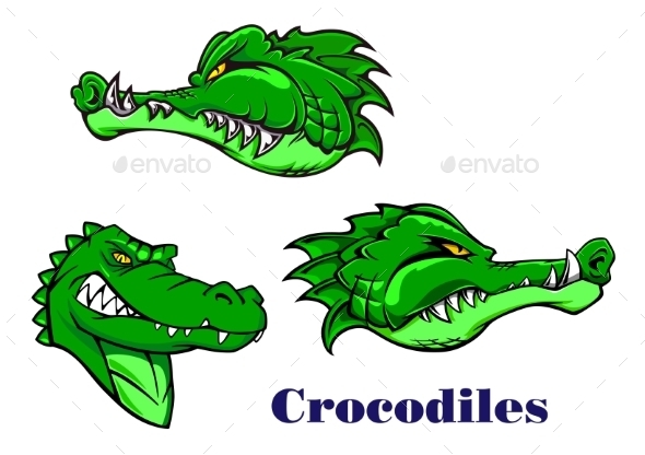 GraphicRiver Cartoon Crocodile and Alligators Characters 8929401