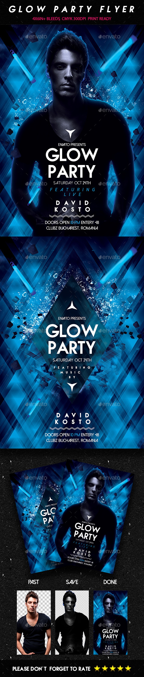 GraphicRiver Glow Party Flyer 8929488
