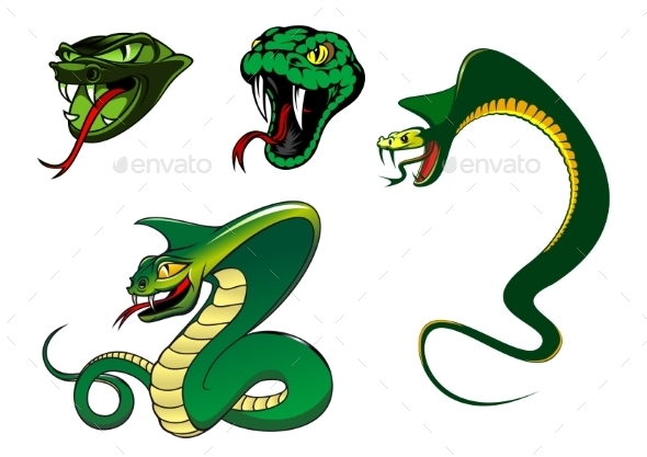 GraphicRiver Cartoon Angry Snake Characters 8929586