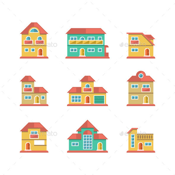 GraphicRiver Set Flat Icons of Houses and Buildings 8930239