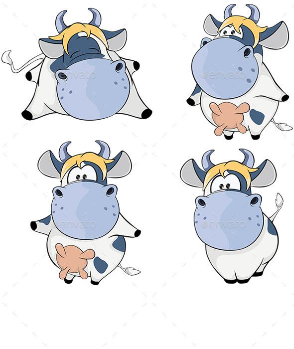 GraphicRiver Set of Cows Cartoon 8931210