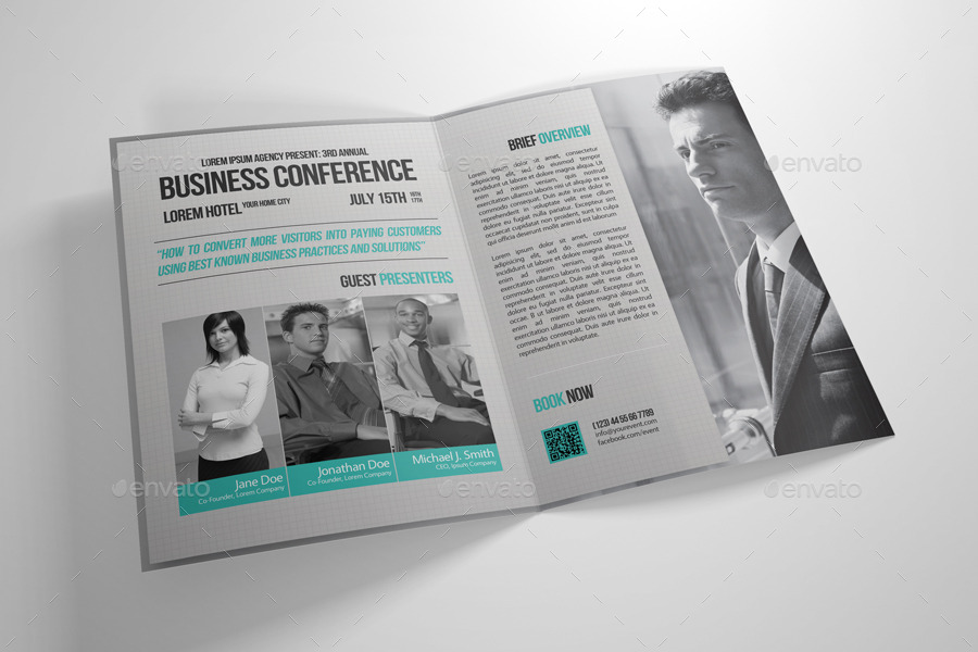 conference brochure templates - half fold business conference brochure template by
