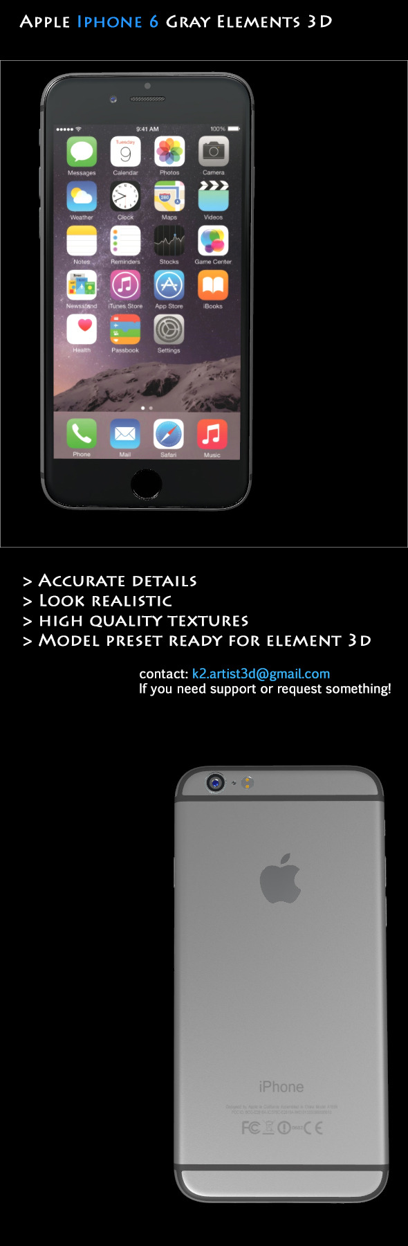 Element3D Apple Iphone 6 Gray