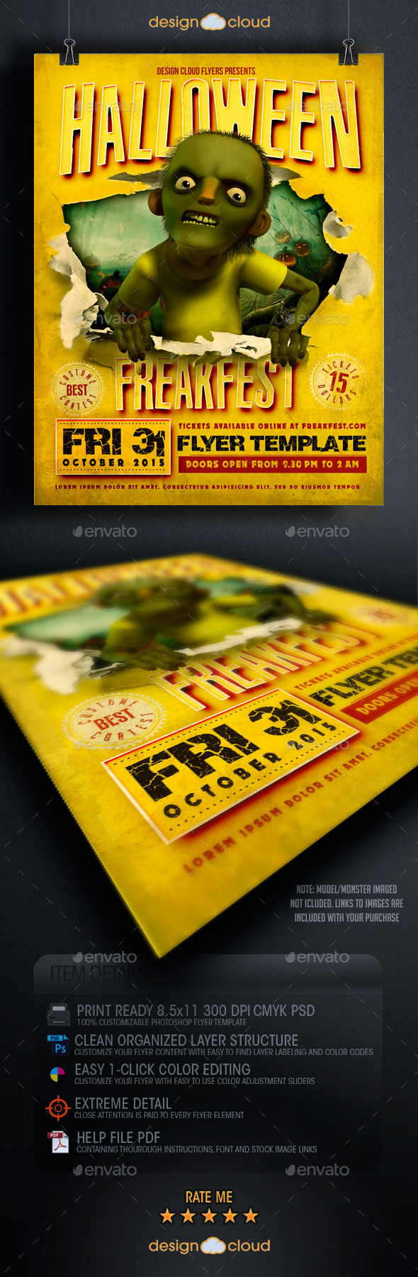 GraphicRiver Halloween Freak Fest Flyer Template 8907801