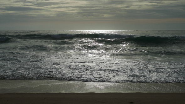 Waves Crashing on Beach 941