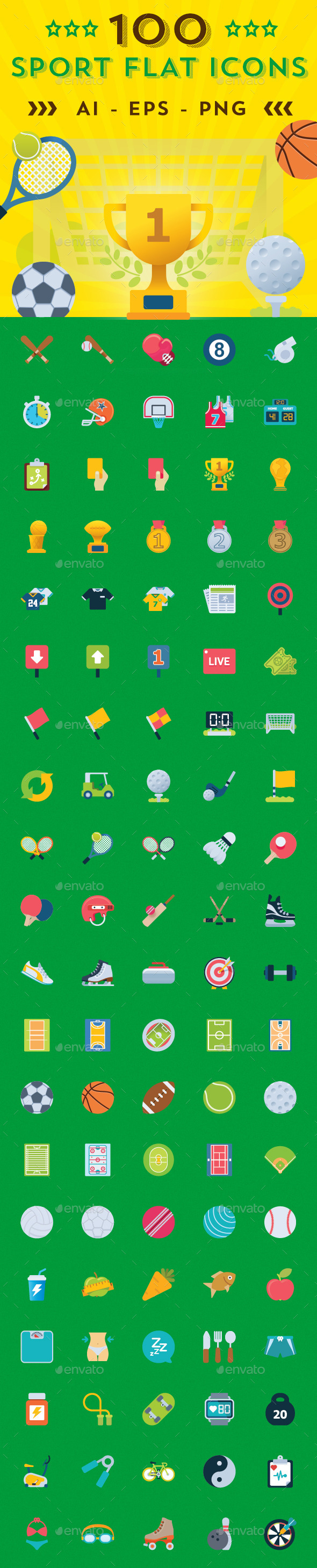 GraphicRiver Sports Shop Flat Icons 8932591
