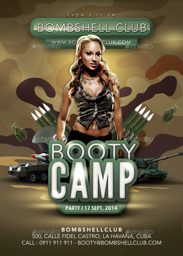 GraphicRiver Bombshell Booty Camp Themed Army Party 8932633