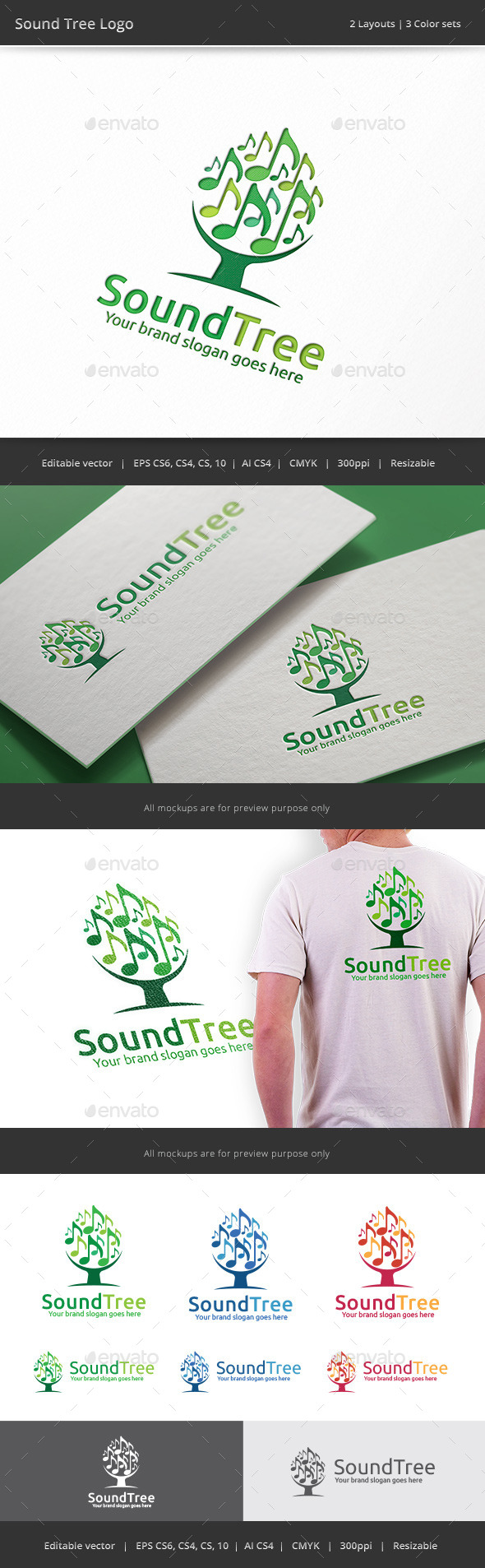 GraphicRiver Sound Tree Logo 8933053
