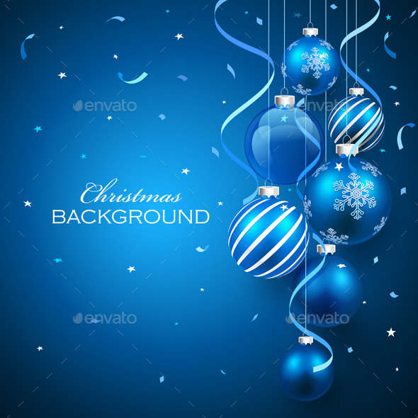 GraphicRiver Christmas Balls on Blue Background 8933102