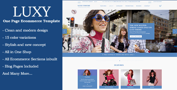 ThemeForest Luxy One Page Ecommerce Template 8933470