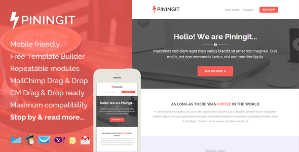 ThemeForest Piningit Responsive Email with Template Builder 8933480