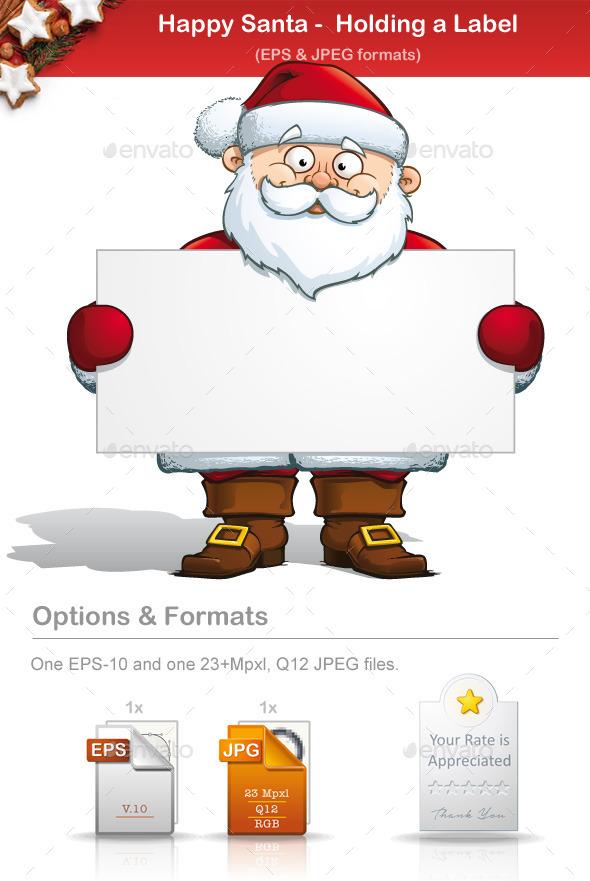 GraphicRiver Happy Santa Holding a Label 8933581