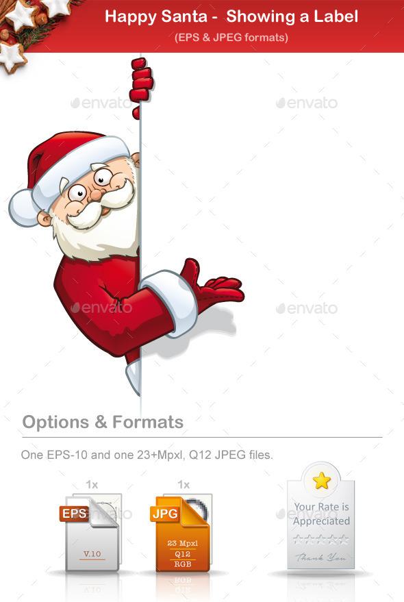 GraphicRiver Happy Santa Showing a Label 8933591