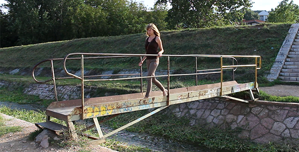 Girl Crossing the Small Bridge 3