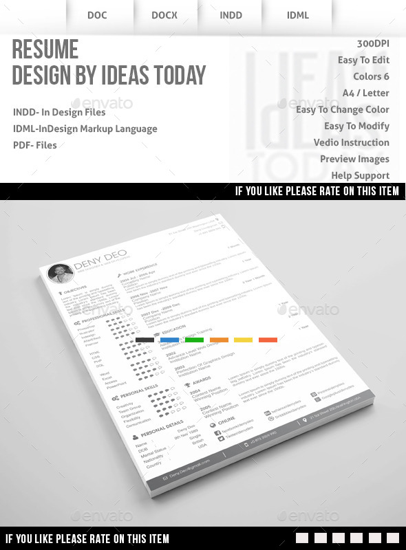 GraphicRiver Resume Template 8934279