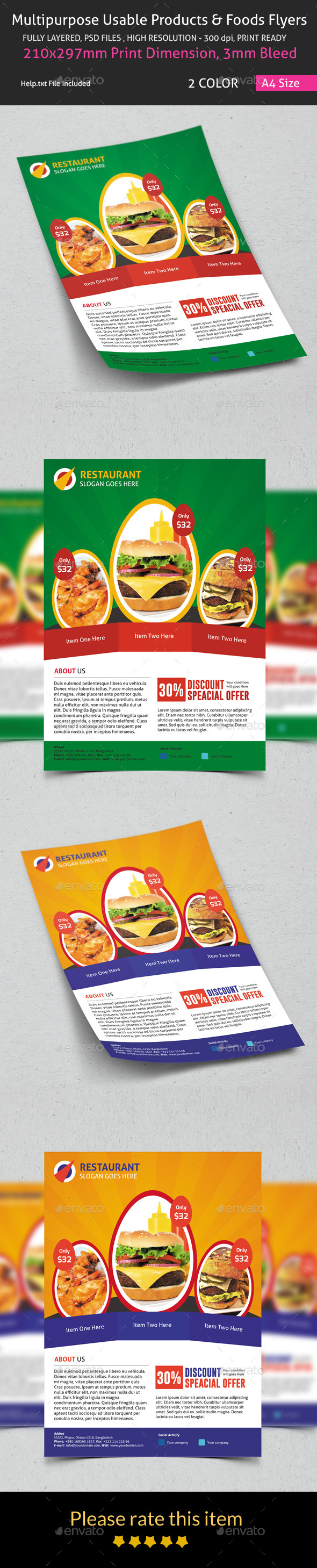 GraphicRiver Multipurpose Usable Products & Foods Flyers 8934327